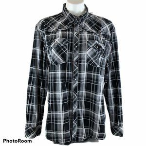 BKE Plaid Western Cowboy Snap Long Sleeve Shirt L